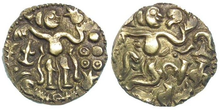 Ancient Coins - Ceylon. Chola Dynasty. Anonymous ca. AD 980 to 1070. Gold Kahavanu. EX JEWELLERY.