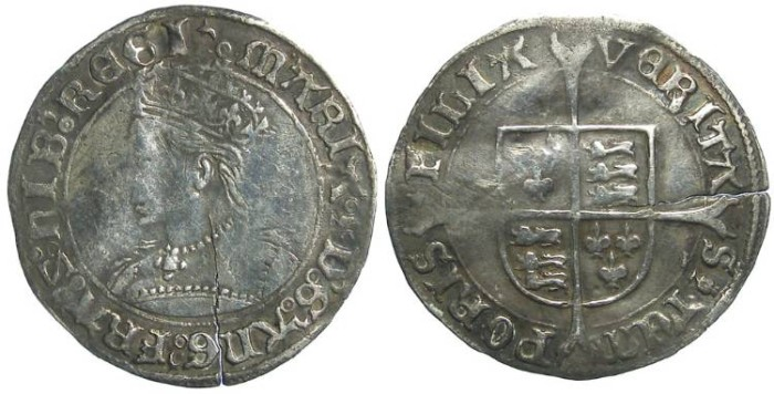 Ancient Coins - English, Mary. AD 1553 to 1554. Silver groat.