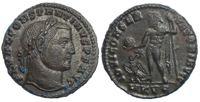 Ancient Coins - Constantine the Great, AD 307 to 337. AE Follis.