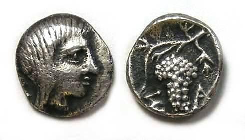 Ancient Coins - Thracian Kings, Saratokos. ca. 400 BC.  Silver trihemiobol.