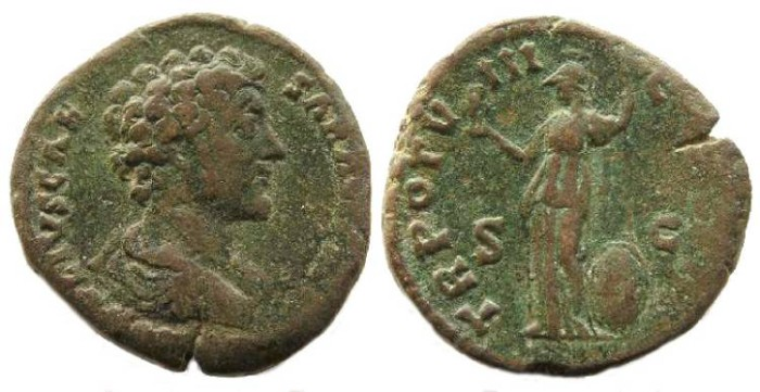 Ancient Coins - Marcus Aurelius, as Caesar AD 139 to 161, Bronze sestertius.