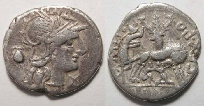 Ancient Coins - Sex. Pompeius Fostlus. ca. 137 BC. Silver denarius.