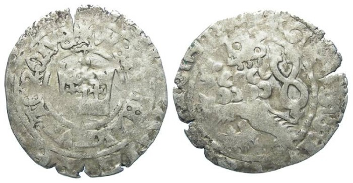 Ancient Coins - Bohemia. Wenzels III, AD 1305 to 1306. Silver prager groschen.