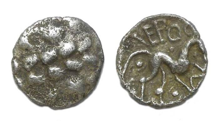 Ancient Coins - Celtic, British. Corieltauvi. ca. AD 8 to 12. Silver unit. VEP CORF type.
