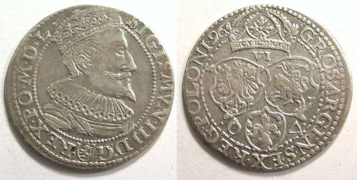 Ancient Coins - Poland, Sigismund III, Silver 6 groszy of 1596