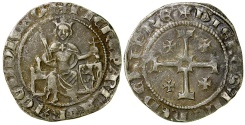 World Coins - Crusader. Cyprus. Peter (Pierre) II, AD 1369 to 1382. AR Gros grand