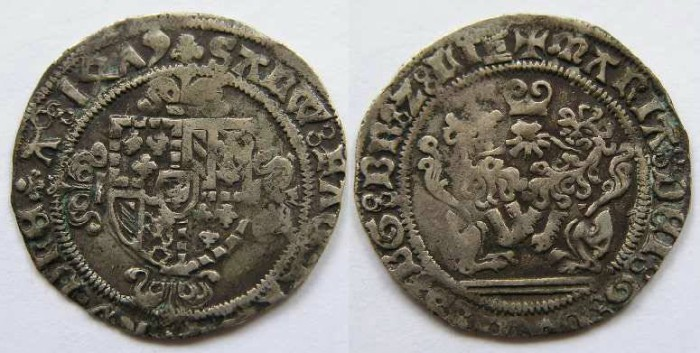 Ancient Coins - Low countries, Brabant and Flanders, Marie de Bourgogne, double briquet.  Dated 1479