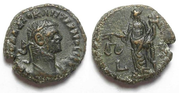 Ancient Coins - Alexandria, Diocletian, AD 284 to 305, Yr-8 (?) potin tetradrachm. 19 mm.