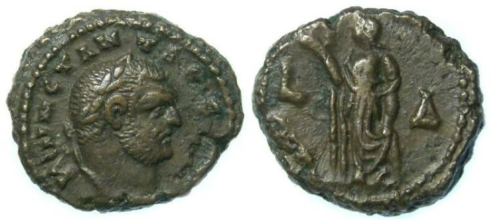 Ancient Coins - Constantius I as Caesar, AD 293 to 305, Alexandrian Potin tetradrachm.