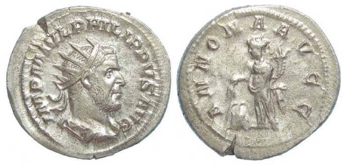 Ancient Coins - Philip I, AD 244 to 249. Silver antoninianus