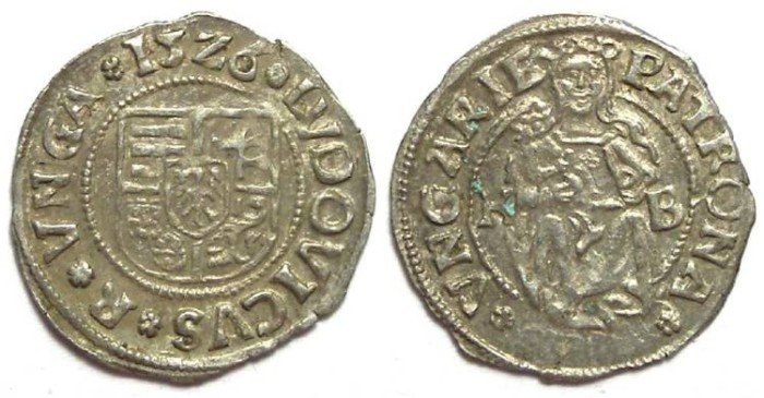 Ancient Coins - Hungary. Ludwig II, 1516 to 1526.  Silver denar. Dated 1526
