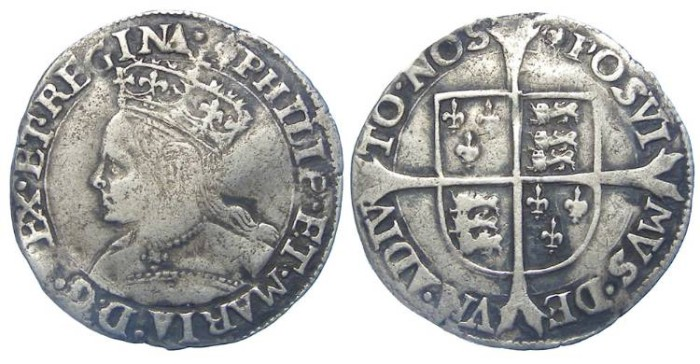 Ancient Coins - English, Phiip and Mary. AD 1554 to 1558. Silver groat.