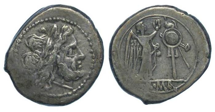 Ancient Coins - Roman Republic. Silver Victoriatus, ca. 211 to 206 BC.