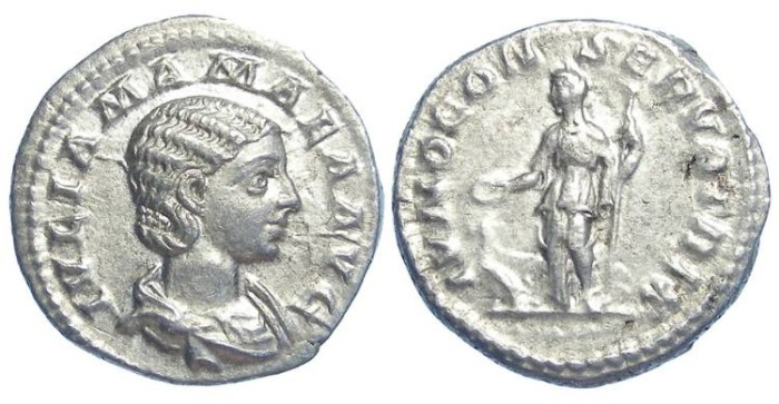 Ancient Coins - Julia Mamaea, Mother of Severus Alexander, AD 222 to 235.. Silver denarius.
