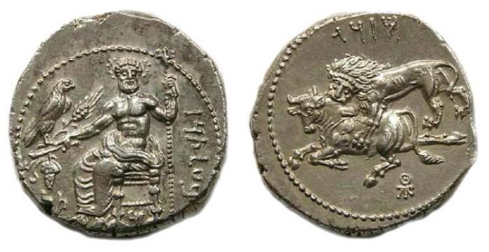 Ancient Coins - Tarsos. Mazaios silver stater. 361-334 BC.