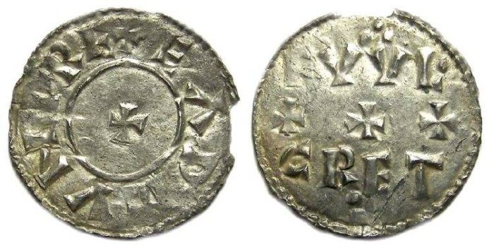Ancient Coins - Kings of all England. Eadmund, AD 939 to 946.  Silver penny.
