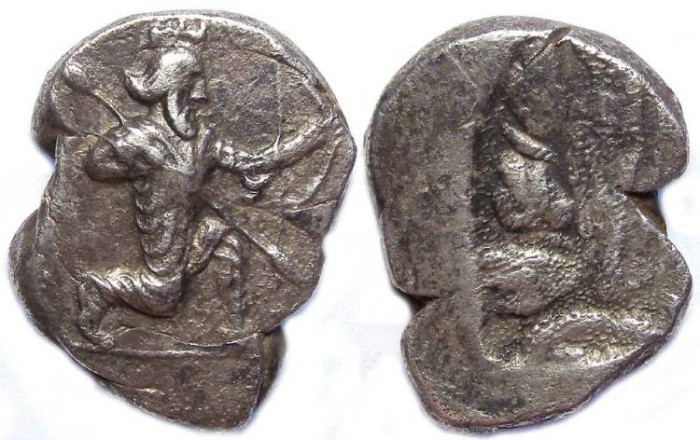 Ancient Coins - Royal Persian Coinage. ca. 350 to 340 BC.  Silver 3 siglos.  Map of Epheos region.
