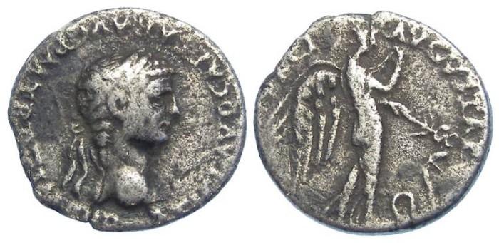 Ancient Coins - Claudius, AD 41 to 54. Silver denarius.
