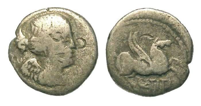 Ancient Coins - Roman Republic. Q. Titius.  ca. 90 BC. Silver Quinarius.