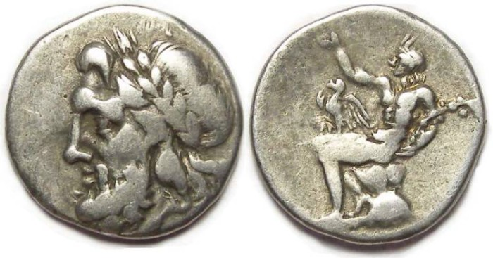 Ancient Coins - Arkadian league.  Silver triobol.  ca. 175 to 168 BC.  Minted at Megalopolis.