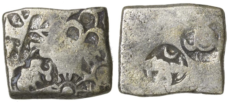 World Coins - India, Mauryan Empire. Punch mark silver. 321 to 187 BC.