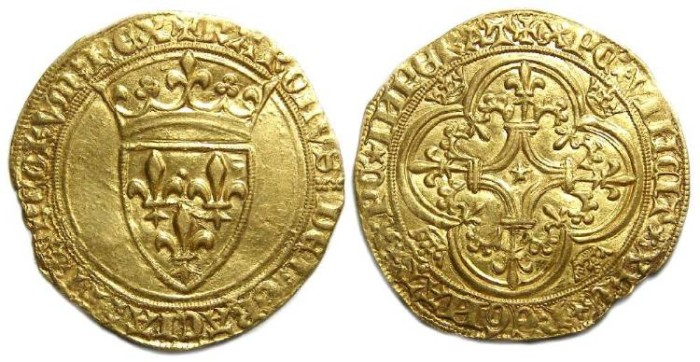 Ancient Coins - France. Charles VI, AD 1380 to 1422. Gold Ecu.