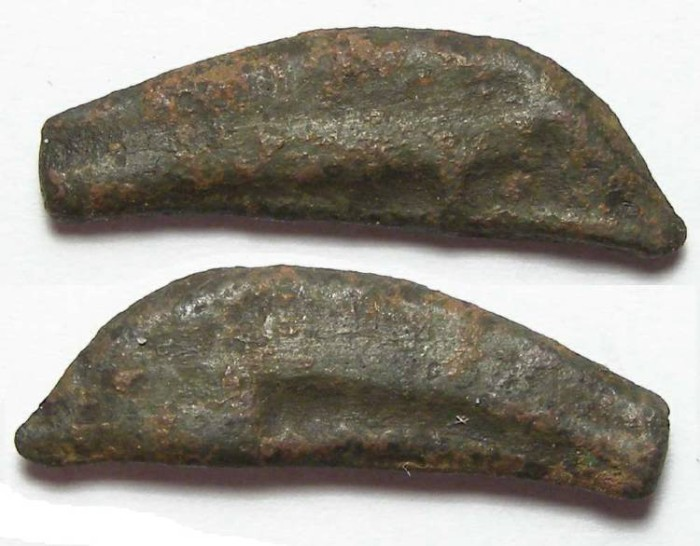 Ancient Coins - Olbia in Thrace, bronze dolphin coin.