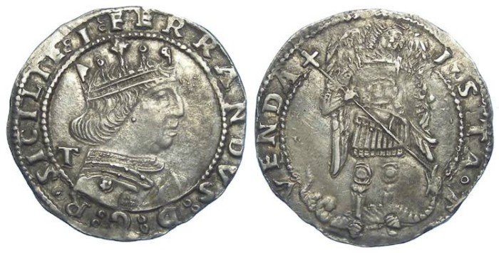 Ancient Coins - Italy, Kings of Naples, Ferdinand I of Naples, AD 1458 to 1494. Silver Coronato