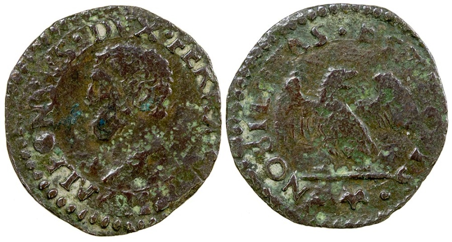 World Coins - Italy, Farrara.  Herzogtum Alphonso I, 1505-1534.  AE Denaro.
