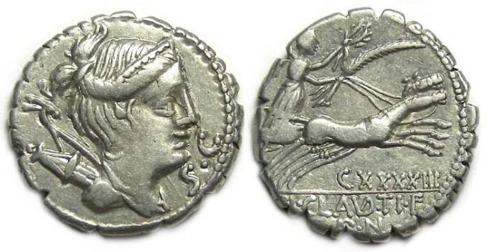 Ancient Coins - Roman Republic. Ti. Claudius Ti.f Ap.n Nero. 79 BC. Silver denarius.