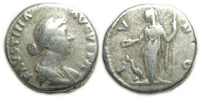 Ancient Coins - Faustina Jr. AD 147-175. Silver Denarius.