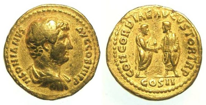 Ancient Coins - Indian Imitative Aureus muling a Hadrian obverse and a Lucius Verus reverse.