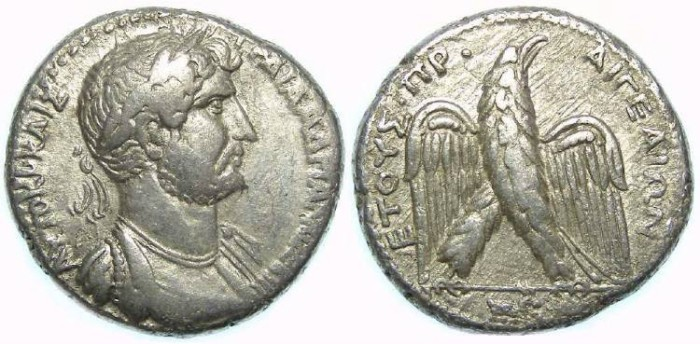 Ancient Coins - Hadrian, AD 117 to 137.  Silver tetradrachm from Aegeae in Cilicia.