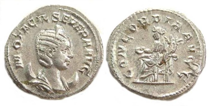 Ancient Coins - Otacilia Severa, AD 244 to 249, AR Antoninianus.