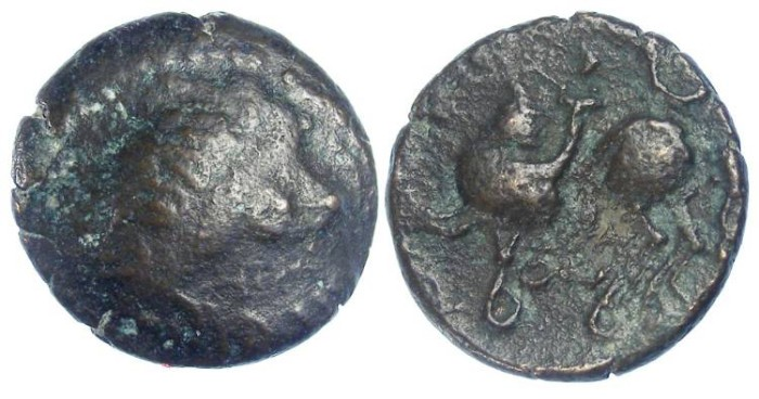 Ancient Coins - Celtic, Eastern. 2nd century BC. Bronze tetradrachm. Imitating Philip II.