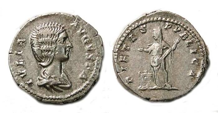 Ancient Coins - Julia Domna, AD 193 to 217.  Silver denarius