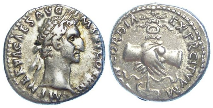 Ancient Coins - Nerva, AD 96 to 98. Silver denarius.