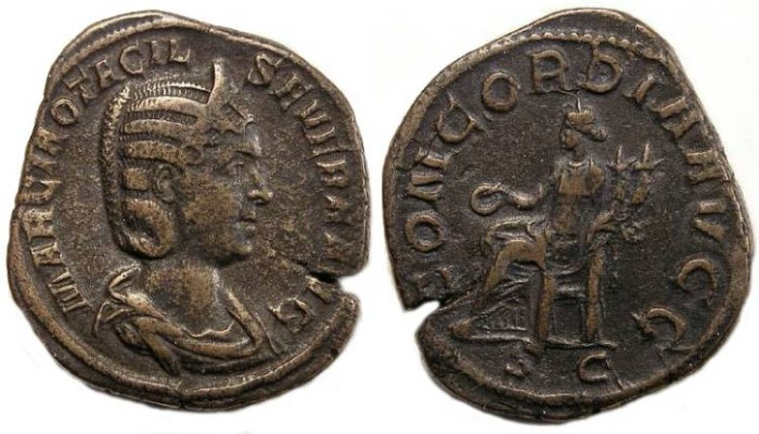 Ancient Coins - Otacilia Severa, AD 244 to 249, AE sestertius.