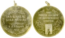 World Coins - INDIAN SOCIETY OF ADVERTISERS LTD.  KHATAU GOLD MEDAL. 1960.  Gilded silver.