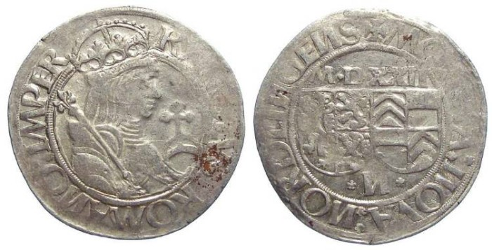 Ancient Coins - Germany, Nordlingen. Stuck by Eberhard IV, 1506 to 1535, but naming Karl V. Silver Batzen dated 1522.