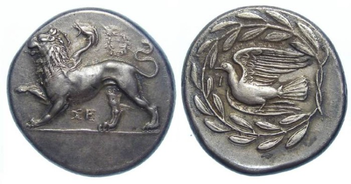 Ancient Coins - Sikyon in Sikyonia. ca. 330 to 335 BC.  Silver Stater.