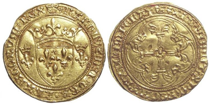 Ancient Coins - France. Charles VII, AD 1422 to 1461. Gold Ecu.