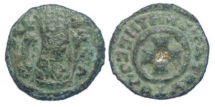 Ancient Coins - Axumite. King Kabel or his successors. ca. AD 520 - 540.  Bronze unit with gold inlay.