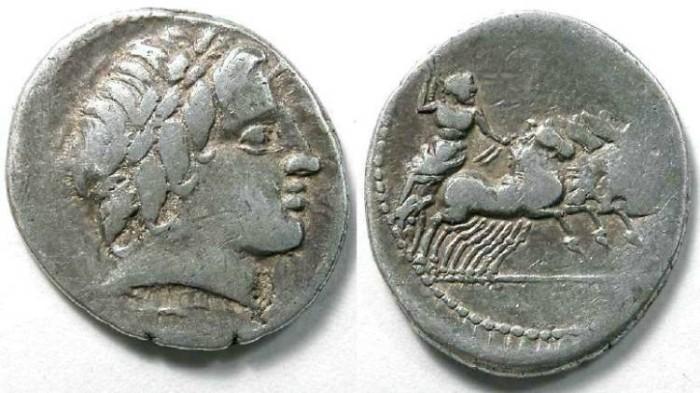 Ancient Coins - Anonymous. ca. 86 BC. Silver denarius.