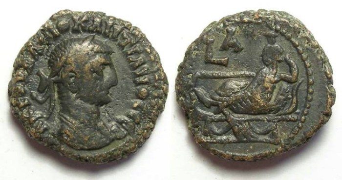 Ancient Coins - Alexandria, Diocletian, AD 284 to 305, Yr-1 potin tetradrachm. 19 mm.