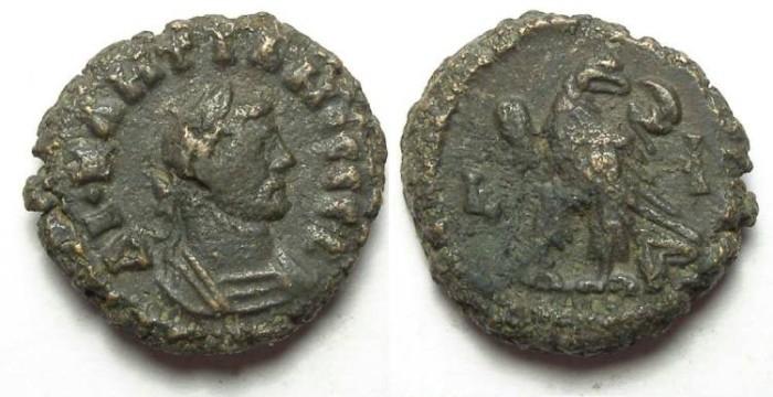 Ancient Coins - Alexandria, Diocletian, AD 284 to 305, Yr-10 potin tetradrachm. 17.5 mm.