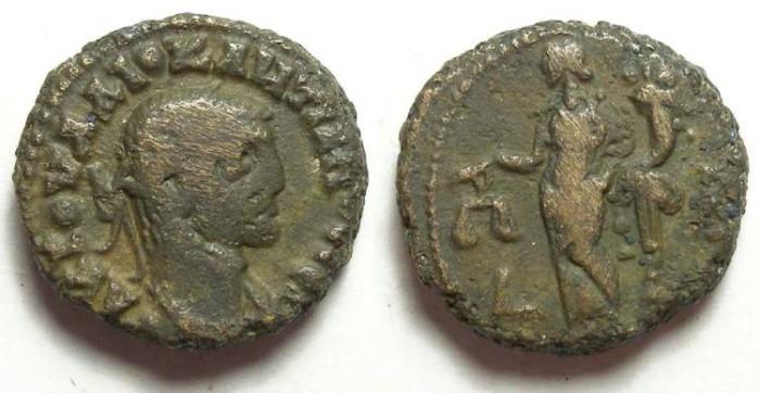 Ancient Coins - Alexandria, Diocletian, AD 284 to 305, Yr-2 potin tetradrachm. 18 mm.