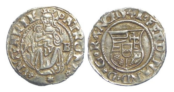 Ancient Coins - Hungary. Ferdinand, 1526 to 1564. Silver denar. Dated 1541