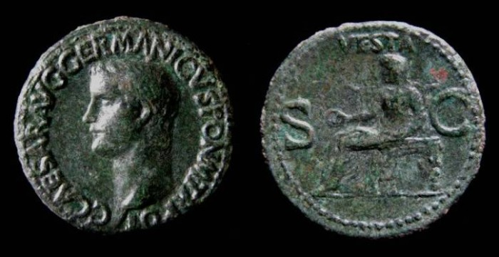 Ancient Coins - Caligula, AD 37 to 41. Copper As.