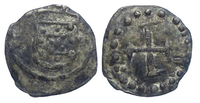 Ancient Coins - Portuguese Malacca.  Anonymous, late 16th to early 17th century.  Tin Meio Bazaruco.